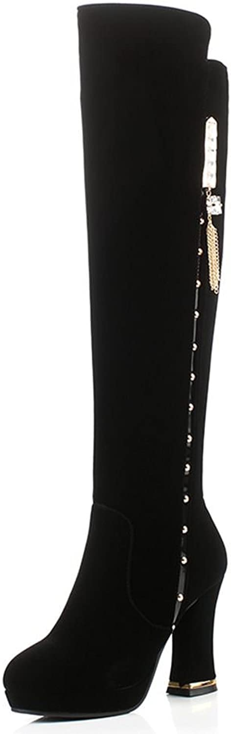DecoStain Women's Concise Zipper Square Thick Heel Knee High Boots