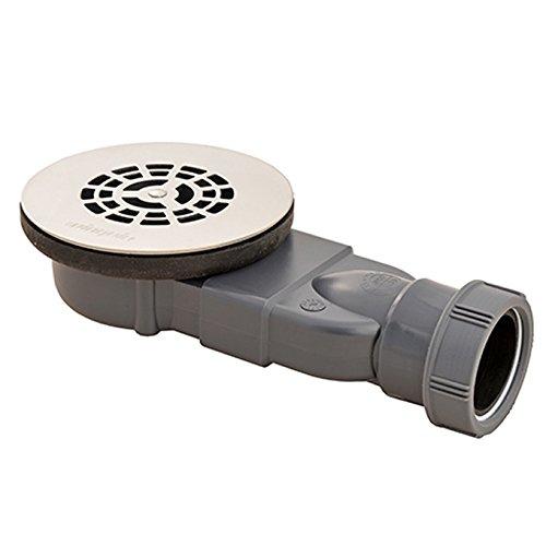 Wirquin Slim Expert Siphon de douche extra plat à profil bas Membrane sans eau pour bacs de douche de 90 mm de diamètre Grille plate en acier inoxydable