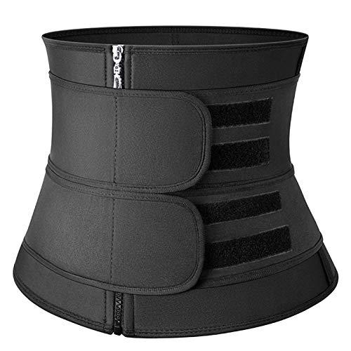ALAON Cinturón de neopreno para mujer, para pérdida de peso, compresión, ajuste fino, ejercicio, fitness (color: cinturón Balck con cremallera 2, tamaño: M)