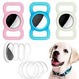 TBST Funda de silicona luminosa compatible con Airtag GPS Finder Dog Loop, paquete de 3 fundas de silicona para etiqueta de aire con 8 protectores de pantalla HD para Airtags Case Mochila y más