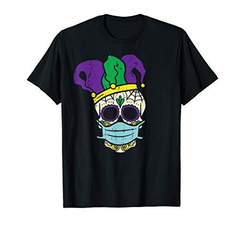 Sugar Skull Jester Hat Face Mask Mardi Gras Quarantine Gift T-Shirt