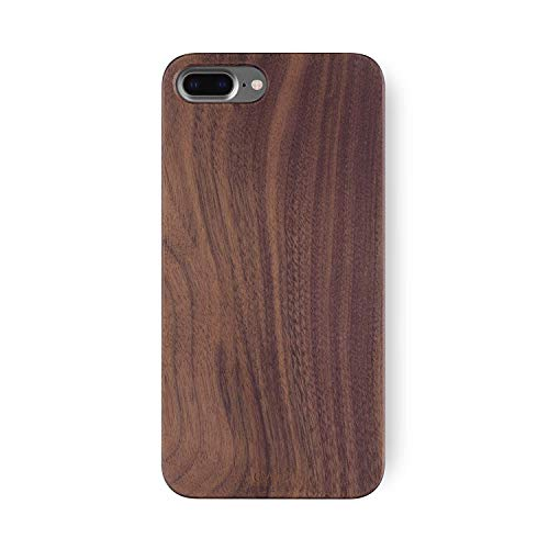 iATO iPhone 8 Plus / 7 Plus Wood Case. Real Walnut iPhone 8 Plus / 7 Plus Case Wood. Minimalistic Classic Dark Wood Case Supports Wireless Charging – Natural Wooden Overlay & Black Polycarbonate