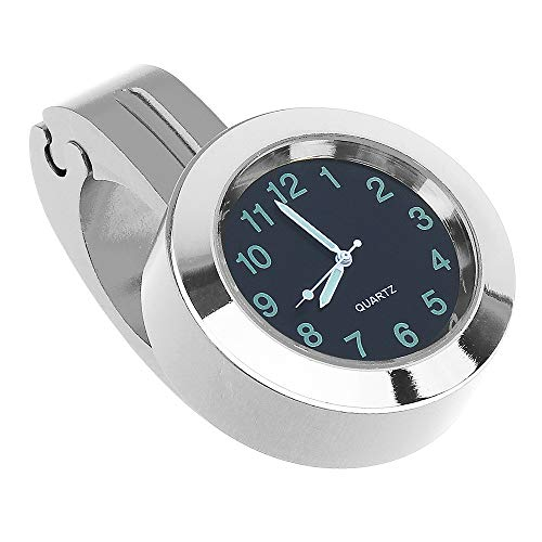 OVBBESS Motorrad Modifizierter Lenker Tisch Universal Aluminium Uhr GeeNdert Wasserdicht Auto Uhr (Silber)
