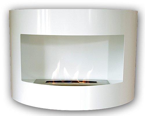 Gel y etanol chimenea de pared Riviera Deluxe Blanco chimenea de acero pintado al polvo + quemador 1 litro
