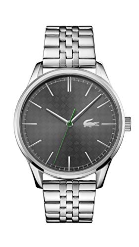 Lacoste Men's Vienna Quartz Watch with Stainless Steel Strap, Silver, 20 (Model: 2011073)