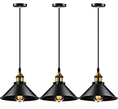 Licperron industrial pendant lights 3 pack, fine workmanship,high quality baking paint with longer service life. Lampshade diameter is about 10.24in, it maybe smaller than your expected, please confirm the size before you orded it. Industrial pendant...
