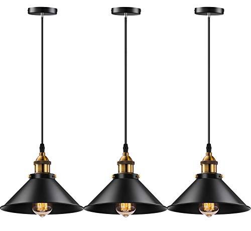 Licperron Industrial Pendant Light E26 E27 Base Lampara Colgante Vintage Hanging Pendant Lights Retro Pendant Light Fixture Home Kitchen Lighting 3 Pack Bar Lights