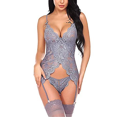 Rouped Conjunto Sexy Mujer Lenceria erótica Talla Grande,S-3XL Disfraz Sexy Mujer Lace Hueco para Sexo Duro,RS1219