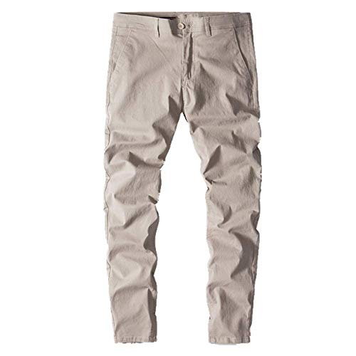 N\P Pantalones casuales para hombre hechos de algodón de color liso slim fit pantalones de hombre