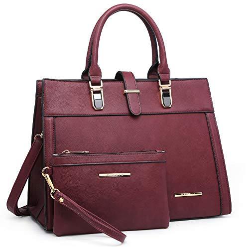 Women's Handbag Flap-over Belt Shoulder Bag Top Handle Tote Satchel Purse Work Bag w/Matching Wristlet (Burgundy)