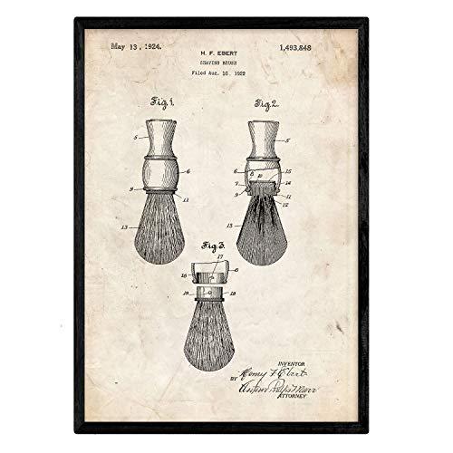Nacnic Poster con patente de Brocha de afeitar. Lámina con diseño de patente antigua en tamaño A3 y con fondo vintage