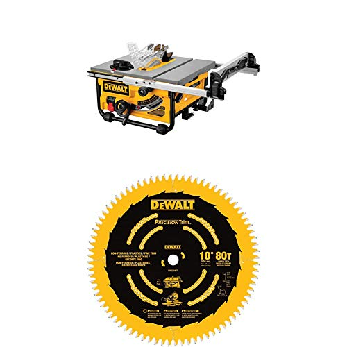 DEWALT DW745 10-Inch Compact Job-Site Table Saw with 20-Inch Max Rip Capacity, Corded 120V AC with DEWALT DW3219PT 10-Inch 80T Fine Crosscutting Saw Blade