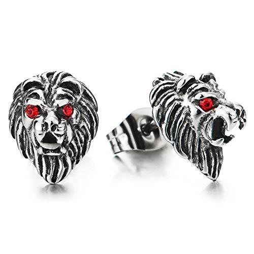 Estilo Retro Cabeza de León Pendientes con Rojo Zirconia Ojos, Pendientes Lobo de Hombres, Acero Inoxidable, 2 Piezas