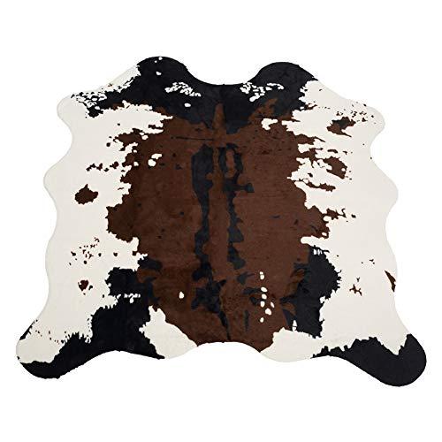 Nideen Tapis imprimé en cuir de vache 140 x 160 cm