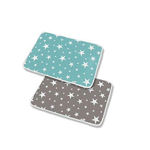 YUEMING 2 Pcak Baby Changing Mats,Portable Toddler Diaper Changing Pad,Cotton Breathable Urine pad,Leak Proof Mattress Pad Sheet Protector, Waterproof Washable Babies Foldable Changing Mats