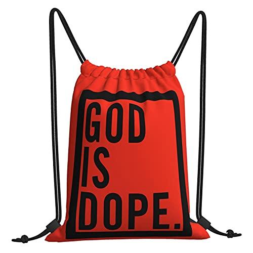 God Is Dope Bolsa de gimnasio con cordón, bolsa de viaje, bolsa de playa, ejercicio al aire libre, correr, natación, unisex, 35,5 x 40,6 cm
