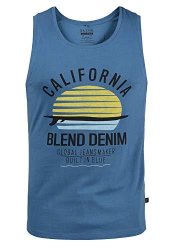 Blend Cali Herren Tank Top Sport-Shirt Muscle-Shirt mit Print, Größe:XL, Farbe:Federal Blue (74001)