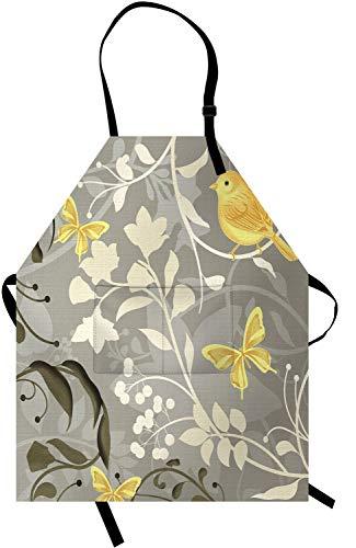 Delantal de flores gris y crema Pinafore para cocina, jardinería, pintura, lona de algodón impermeable con 2 bolsillos, cuello...