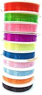 Beadsnfashion 10 Colorful Multi Purpose Elastic Stretch String Cord, Size 0.8 Mm for Jewellery Making, Beading, Arts and C...