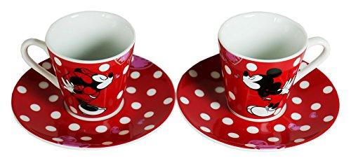 Disney Espressoset Mickey Mouse/Minnie, Zwei Tassen m. Untertellern
