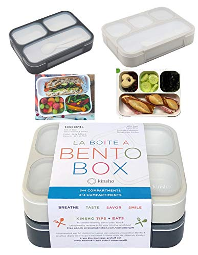 Bento Boxes for Adults | Bento-Box Lunch Set Containers for Meal Prep School or Work for Big Kids, Teens, Women, Men, 3 and 4 Compartments Japanese Style | Grey Black Large 2 pack
