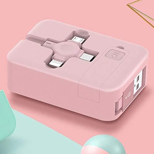 Cable cargador múltiple 3 en 1 retráctil multifuncional USB tipo C Micro USB 2.4A Cable de carga con soporte para teléfono (rosa)