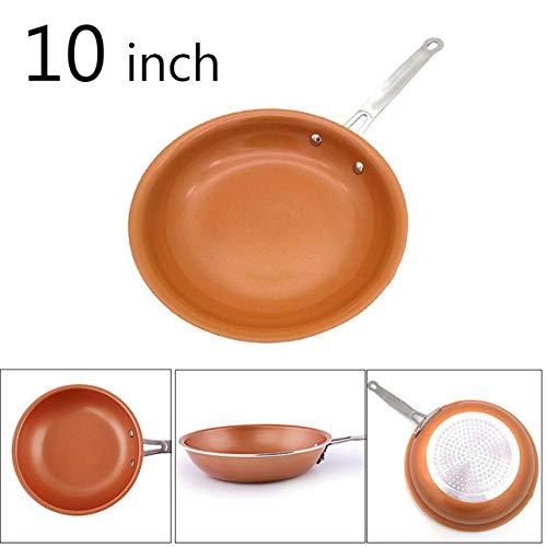 Sartén SDFJKO Sartén de cobre antiadherente de 8/10 pulgadas con sartén de inducción de cerámica Recubrimiento de inducción Sartenes de cocina, 10 pulgadas