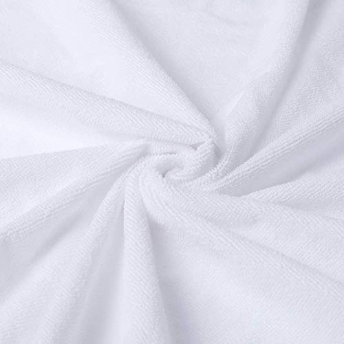 GAX 100% Cotton Terry Towel Waterproof Fitted Bed Sheet Mattress Protectors Topper Cover Breathable Super Absorbent Stain Proof Non-Allergenic & Non-Noisy (Single (90 x 190cm))