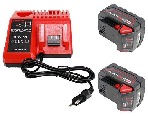 2 piezas 18V 5000mAh Reemplace la batería Milwaukee 48-11-1828 48-11-1840 C18B M18BX Li18 (OEM) M18B4 M18 XC con cargadores Milwaukee M18 48-59-1812 48-59-1807 48-59-1806
