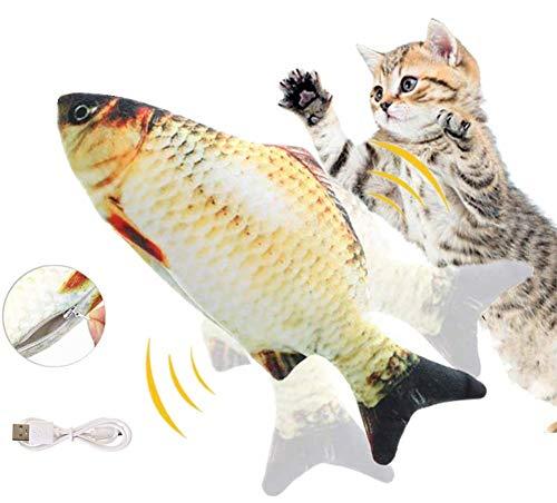 Zibnwee Elektrisch Spielzeug Fisch, Katze Spielzeug mit Katzenminze, katzenspielzeug Fisch elektrisch beweglich, Katze Interaktive Spielzeug, Simulation Plush Fisch, Kissen Kauen Spielzeug für Katze