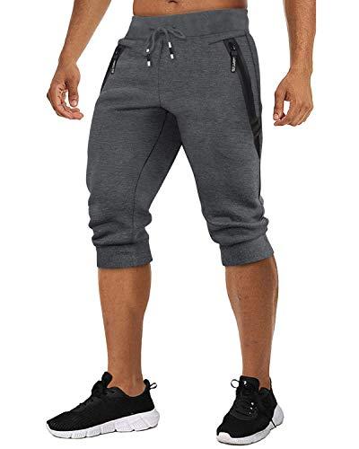 TACVASEN Men's Jogging Sweat Shorts Summer 3/4 Pants Workout Running Shorts Elastic Waist Capri Pants Men Dark Gray, 38