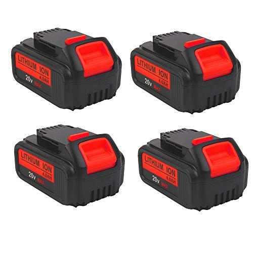4000mAh 20V DCB204 Battery Replacement for Dewalt 20-Volt MAX XR Batteries DCB205 DCB200 DCB203 DCB206 DCB204BT-2 DCB201 20Volt Lithium for Dewalt Battery, 4-Pack