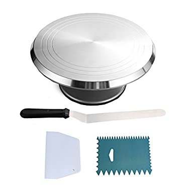 Round Cake Revolving Turnable 12''Stand With Icing Spatula & Decorating Comb | Non Slip Rubber Base, Durable Aluminum, Rotating & Locking Mechanism |For Birthdays, Wedding, Showers & More
