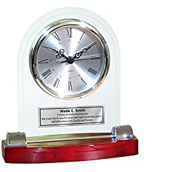 Desk Table Personalized Engrave Wood Desk Archway Clock Gold Base with Engaving Plate. Employee Recognition Wedding Service Award Retirement Gift Executive Anniversary