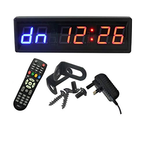 Ledgital Reloj de entrenamiento con temporizador de pared para gimnasio, 38 x 12 cm, temporizador grande Tabata con mando a distancia, temporizador de intervalos perfecto para entrenamiento en casa