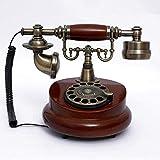 AXAXA Teléfono Antiguo Dial De Madera Rotary Vintage 60S Moda Moda Cordon Dial Set Retro Home Accessory Decor 25.5 * 17.5 * 19.5Cm