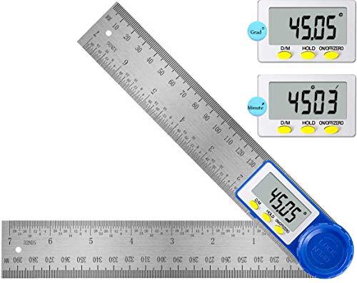 Schmiege Winkelmesser, Orthland Elektronischer Winkelmesser Edelstahl mit LCD Anzeige und Feststellfunktion, Messbereich 360°, Digitaler Winkel Lineal 400 mm für Holzarbeiten, Heimarbeit, Handwerker