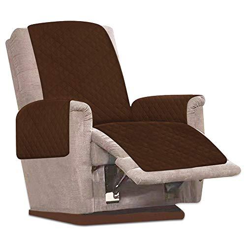 JTWEB Sesselschoner Sesselauflage Relax mit rutschfest, 1 Sitzer Sesselschutz Sofaüberwurf mit 2.5 cm Breiten verstellbaren Trägern (Braun)