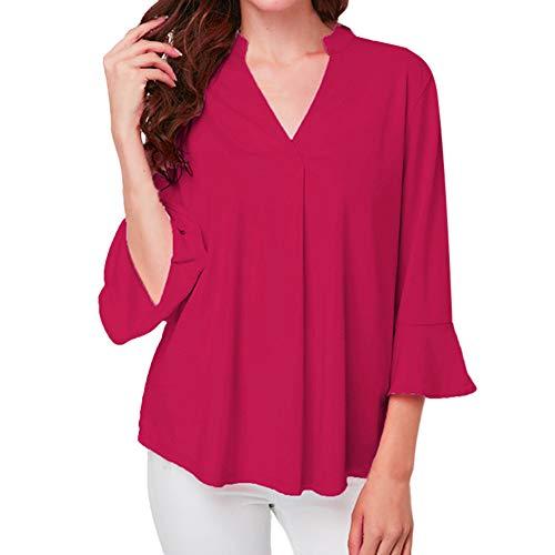 VEMOW Heißer Sommer Herbst Damen Plus Size Solid Langarm Casual Chiffon Damen OL Arbeit Top T-Shirt(X1-Hot pink, 40 DE/M CN)