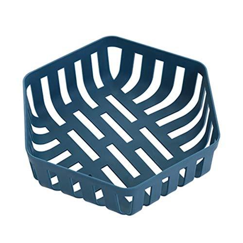 Heng Creative Plastic Fruitschaal Geometrische Holle Groenten Snacks Opbergbak Rood Blauw Mand Huiskeukenbenodigdheden, blauw