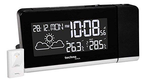 Technoline Projektionswecker WT 539 mit Funkuhr, Innen- /Außentemperaturanzeige, Wettervorhersage und Anzeige mit Farbwechsel