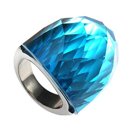 Epinki Herren Edelstahl Ringe Arc Ringe Hell Blau Glas Crystal Ringe Herren Freundschaftsringe Gr.54 (17.2)