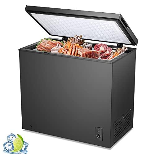 R.W.Flame Chest Freezer 7.0 Cubic Feet, Deep Freezer,Adjustable Temperature,Energy Saving,Top open Door Compact Freezer,Black