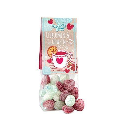 Eisblumen- und Glühweinherzen, süße Bonbons in Herz-Form, schöne Geschenk-Idee für Freunde
