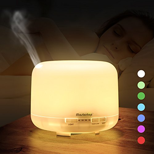 Mastertop 500ml Mist Essential Oil Diffuser Timer Setting Humidifier Aromatherapy Machine with 7 Color LED light Auto-Off