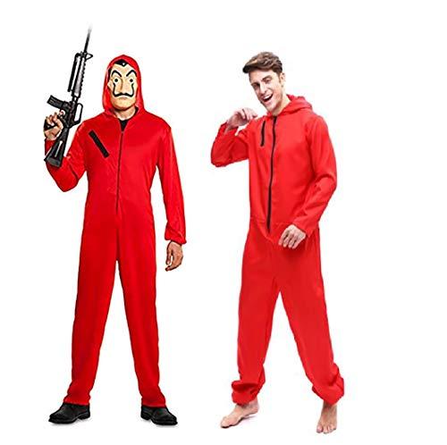 StMandy Traje de Cosplay Mono Rojo casa de Papel con máscara de Dali Fiesta de Disfraces de Halloween niños Adultos Unisex