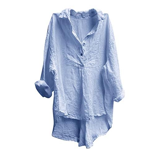 Fcostumer Bluse Damen Asymmetrisch Jumper Sweatshirt Casual Tshirt Hemd Tunika Blusen Longshirt Elegant Pullover Lässig Oberteile Langarm Basic Tops Streetwear Frauen Oversize Shirt