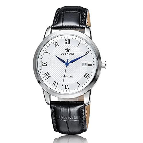 Excellent Reloj de Pulsera de Reloj mecánico automático de los Hombres Calendario dial dial Impermeable,Blanco