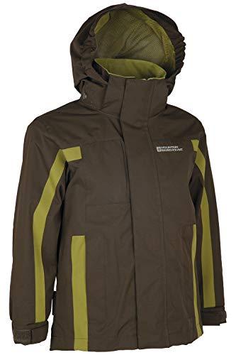 Mountain Warehouse Samson Kids Waterproof Jacket - Taped Seams Rain Jacket, Adjustable Cuffs Boys Triclimate Coat, Mesh Lined Girls Raincoat - for Travelling Khaki 7-8 Years