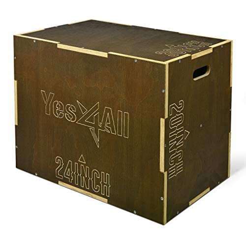 Yes4All Wooden Plyo Box - Vintage - Moss Brown - 30 x 24 x 20